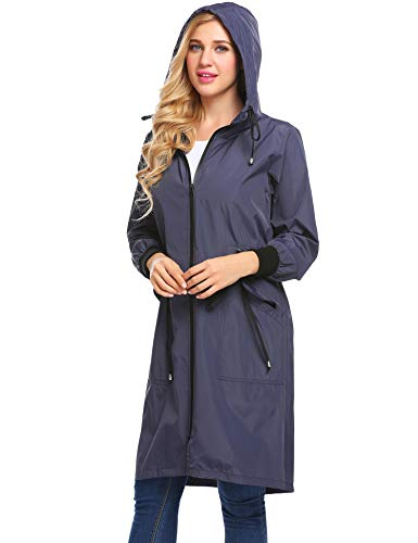 Zeagoo Women Casual Hooded Long Sleeve Zip up Rainproof Windproof Drawstring Jacket Raincoats, Navy Blue, XX-Large