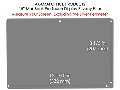 MacBook Privacy Screen Filters Anti-Glare (New 15 inch MacBook Pro Touch/Non-Touch-Late 2016) by Akamai Office Products (Image #2)
