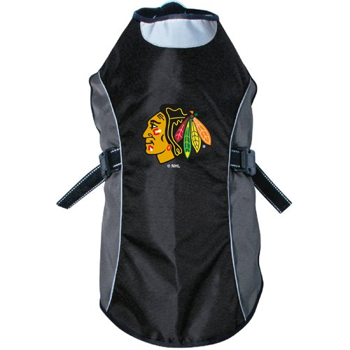 Custom Mascot Costumes Chicago (NHL Chicago Blackhawks Hunter Reflective Pet Jacket, Large, Black or Navy)