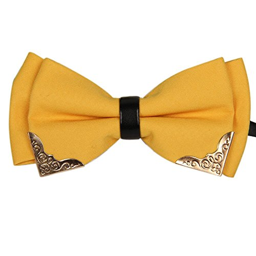 AINOW Mens Pre-tied Golden-Metal-Edged Two-Layer Bow Ties (Yellow)