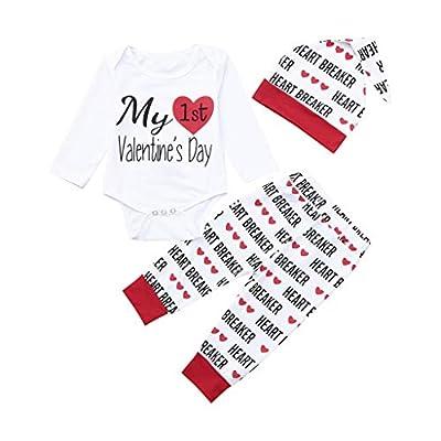 Tronet Kids Clothes, Newborn Infant Baby Boy Girl Letter Romper Tops Pants Hat Set Valentine Outfits