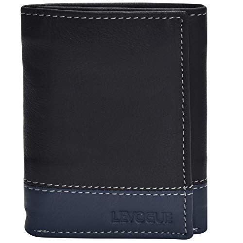 (Genuine Leather Mens RFID Blocking Slim Trifold Wallet with 6 Cards+1 ID Window + 2 Note Compartments. (Brown Crazy Horse) (Blk/Blue Nappa) )