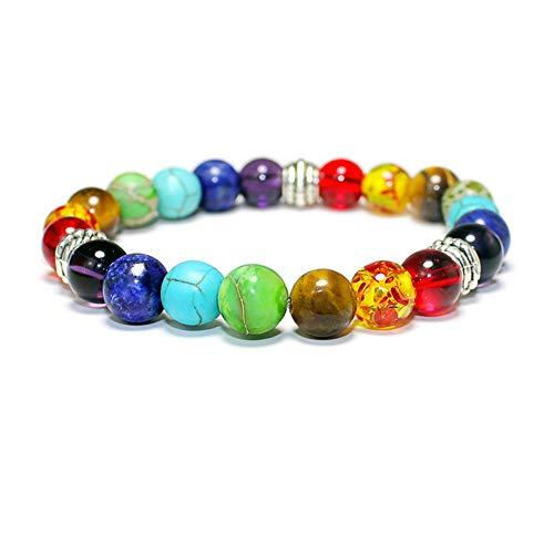 - Colorful Natural Stone Bracelet, Handmade Braided Multi Color Agate Tiger Eye Lapis Lazuli Beads, Chakra Yoga Energy Bracelet - Bohemian Bracelet- Leather Wrap Couples Bracelets Creative Gifts