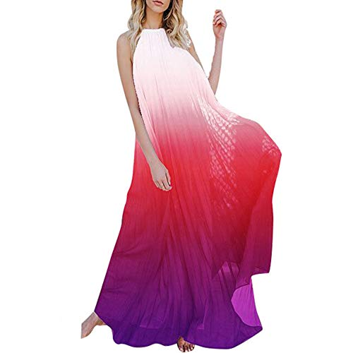 IyMoo Floral Maxi Dress Sexy Chiffon Sundress Tie Dye Dresses for Women Halter Neck Backless Long Boho Print Beach Dresses - Halter Gown Print