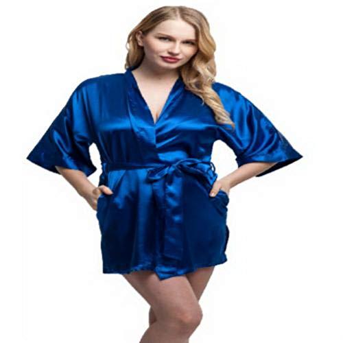 - Fashion Women Short Satin Kimono Robes Women Knee Length Sexy Lingerie Sleepwear Fashion Nightwear Bride Bridesmaid Robes L Blue