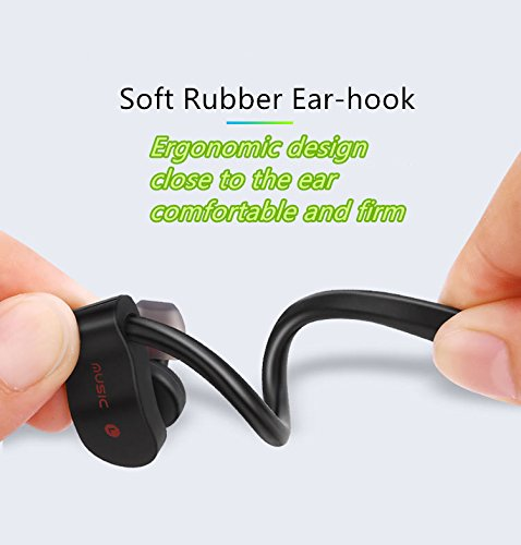 Wireless Bluetooth Sports Headphones,Wireless 4.1 Earbuds with Built-in Mic Stereo Sound Noise Cancelling IP68 Waterproof and Sweatproof Headsets with Secure Ear Hook for Running Exercising Black