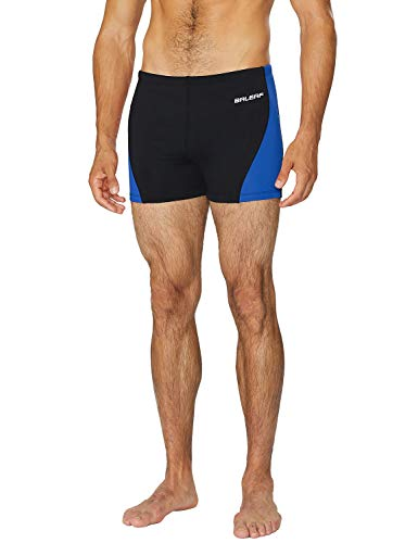 BALEAF Mens' Athletic Durable Training Polyester Quick Dry Compression Square Leg Jammers Swim Brief Swimsuit Black/Blue Size 36