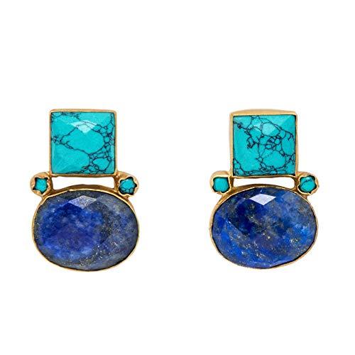 Gorgeous Handmade Lapis Lazuli & Turquoise 18K Gold Plated Earrings