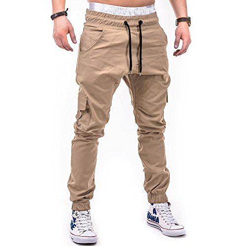 (WOCACHI Men's Jogger Pants Sport Pure Color Bandage Casual Loose Sweatpants Drawstring Pant Multi Pocket Cargo Trousers Under 10 Dollars Summer Fashion Deals)