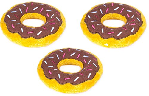 (ZippyPaws - Donutz Plush Squeaky Dog Toy Sprinkled Donut 3 Pack, Chocolate)