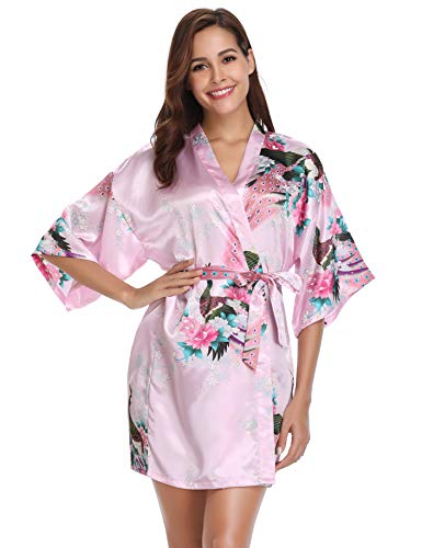 - Vlazom Women's Kimono Robes Satin Peacock Floral Nigthwear Bathrobe for Bride Bridesmaids Wedding Party Pink