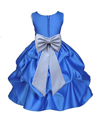 ekidsbridal Royal Blue Pick-Up Satin Bubble Junior Flower Girl Dress Formal Events 208T 8
