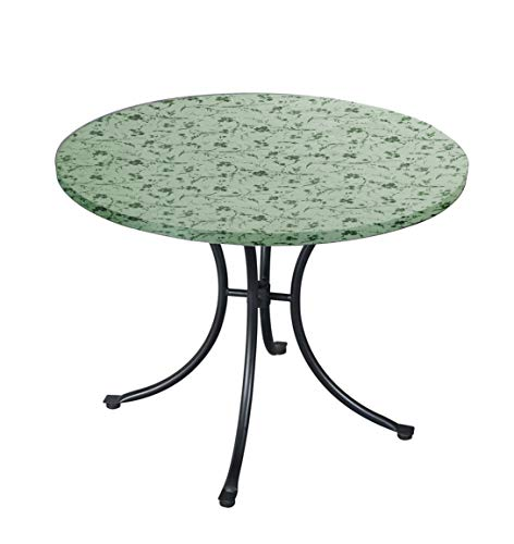 - CTD Store Deluxe Fitted Elasticized Table cover Fit up to44-48 Inches Diameter (Blue Floral Swirl)