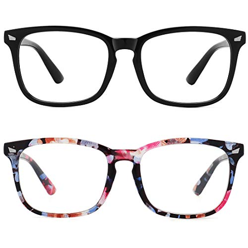 WOWSUN Unisex Stylish Nerd Non-prescription Glasses,Clear Lens Eyeglasses Optical Frames,Fake Glasses (2 PACK Black + Flower Frame/Clear Lens, ()
