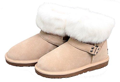 Luxehome Donna Inverno In Pelle Di Coniglio Pelliccia Neve Stivaletti Sabbia