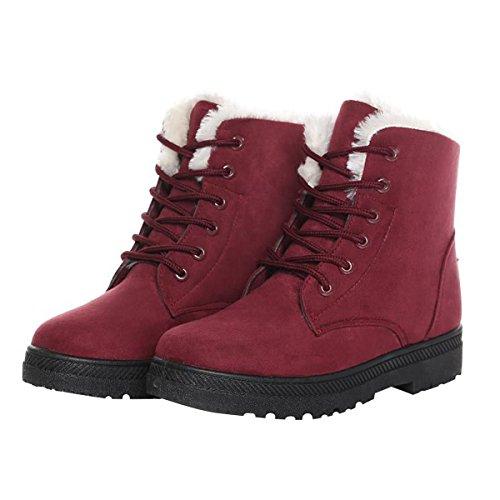 Dear Time Women Winter Snow Boots Fur Lined Warm Flat Platform Sneaker Shoes Plus