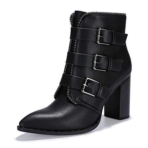 IDIFU Women's Vivian-S Buckle Strap High Block Heel Short Boots Pointed Toe Side Zipper Ankle Booties (Black Pu, 8 M US)