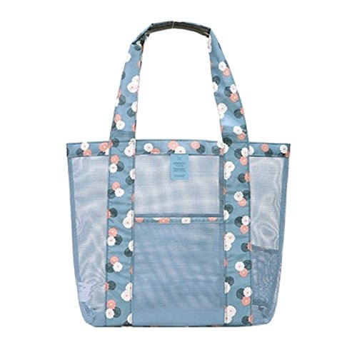 Tote Portable Haifly Beach Mesh with Swimming Large Transparent Bags Shoulder Bag Pocket BwttqUx4Wd