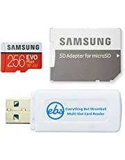 Samsung 256GB Evo+ Class 10 MicroSD Memory Card for Samsung Tablet Works with Galaxy Tab Active Pro, Tab S6 Lite, Tab A 8.4 2020 (MB-MC256HA) Bundle with (1) Everything But Stromboli Micro Card Reader