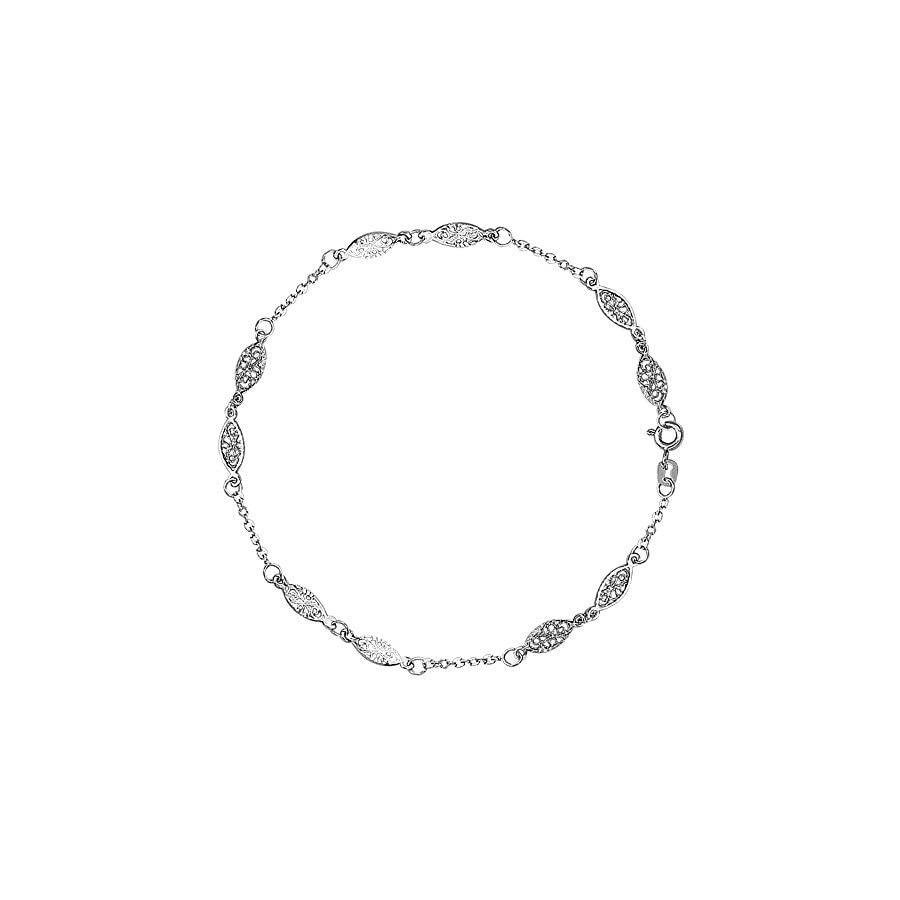 Jewelry Affairs 14K White Gold Fancy Ladies Anklet, 10""
