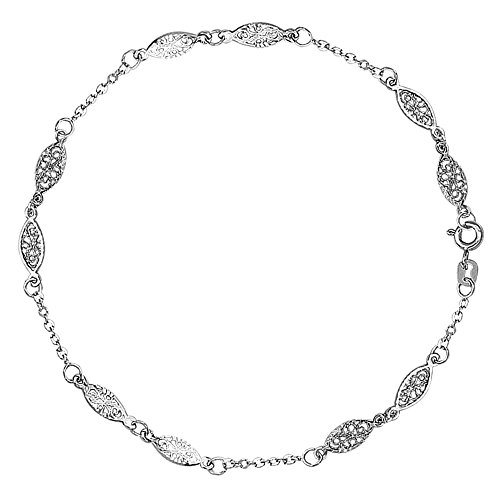 Jewelry Affairs 14K White Gold Fancy Ladies Anklet, 10