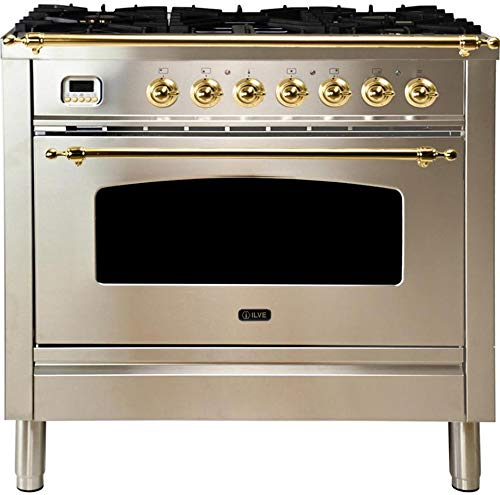 Ilve UPN90FDMPI Nostalgie Series 36 Inch Dual Fuel Convection Freestanding Range, 5 Sealed Brass Burners, 3.55 cu.ft. Total Oven Capacity in Stainless Steel, Brass Trim (Natural Gas)