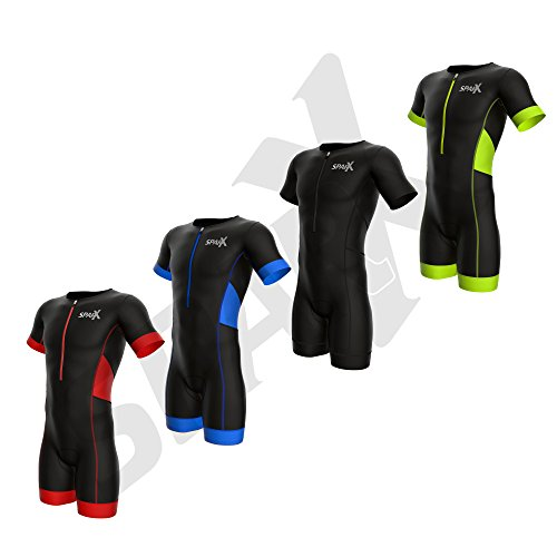 Sparx Men Elite Aero Short Sleeve Triathlon Suit Skinsuit Team Tri Suit Swim Bike Run (Neon Green, XL) (Tri Elite Suit Super)
