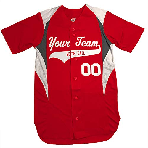 Red Insert Jersey - 3 Color Customized Baseball Jersey Adult Medium in Scarlet Red and White
