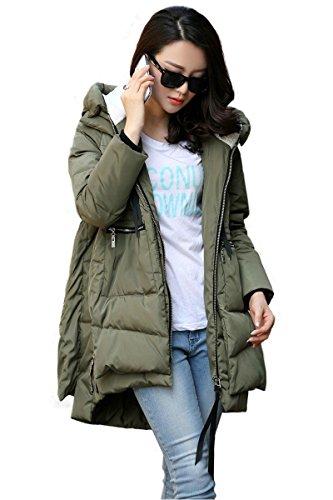 ASCHOEN Damen mit Beide Seiten des Reißverschlusses Windschutz Winter Locke Daunen Jacke im KnieLange Armeegrün XL