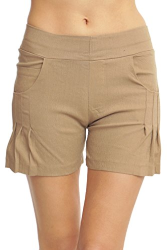 ToBeInStyle Women's Pleated Stretch Shorts - Khaki - (Women : Pleated Shorts Khaki)