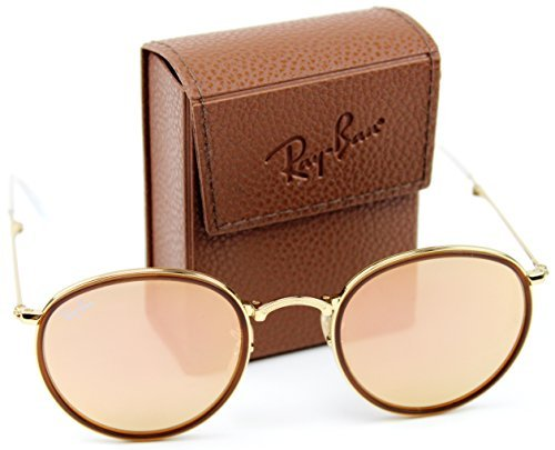 Ray-Ban RB3517 001/Z2 Round Folding Gold Frame / Brown Mirror Pink Lens - Pink Ban Ray Round Folding