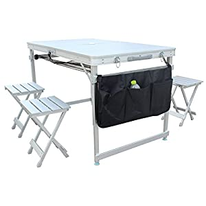 KLB Sport 100% Aluminum Portable Folding Picnic Table w/ 4 Seats & Storage Net, Silver