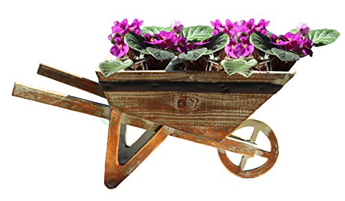 Wood Wheelbarrow - Gardenised Small Wheelbarrow Planter