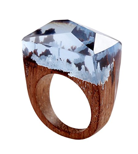 Heyou Love Handmade Wood Resin Ring With Blue Sky Landscape Inside Jewelry by Heyou Love (Image #1)