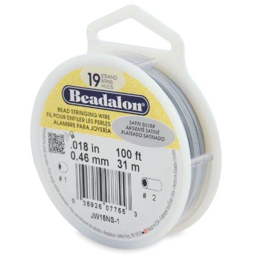 Beadalon 19-Strand Bead Stringing Wire, 0.018-Inch, Satin Silver, ()