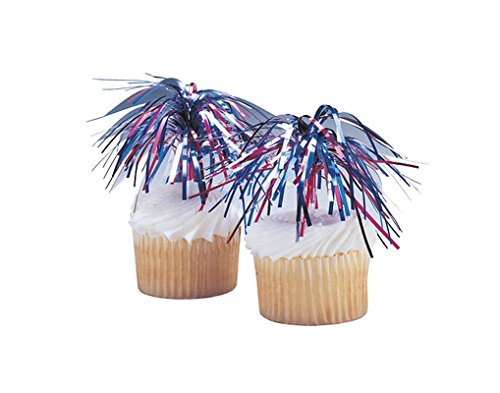 Picks Cupcake Sprays - CakeSupplyShop Independence Day Mylar Spray 4th of July -24pk Cupcake / Desert / Food Decoration Topper Picks with Favor Stickers & Sparkle Flakes