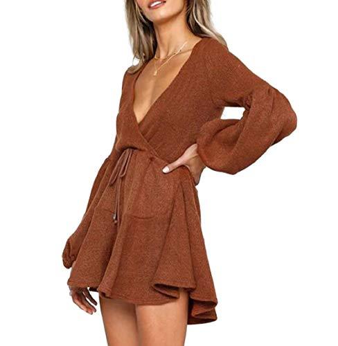 La Mode Jaycargogo Des Femmes De Haute Manches Flare Profond Col V Taille Haute Lacent Robes 1