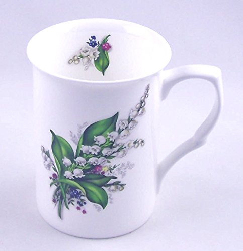 Fine English Bone China Mug - Lily of the Valley Chintz - England (Porcelain Lily)