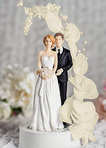 Bride and Groom Vintage IVORY Glitter Flower Arch Wedding Cake Topper - Groom in Navy Suit (Wedding Cake Topper Arch)