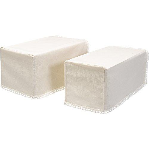 Decorative Pair of Mini Square Linen Mix Arm Caps Antimacassar Furniture Cover with Lace (Pair Lace Trim)
