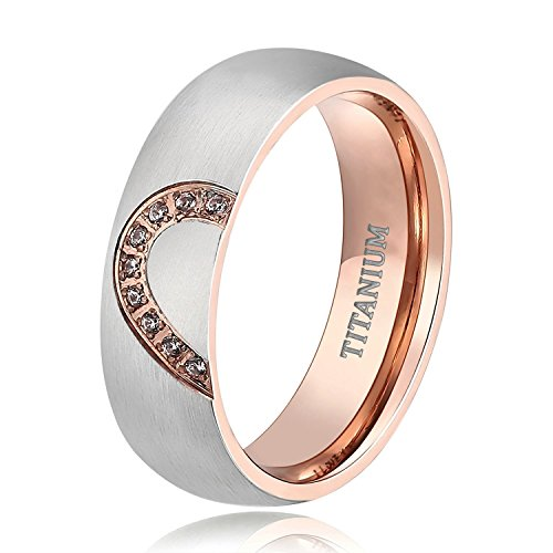 TIGRADE Real Love HeartTitanium Wedding Bands Couple Engagement Rings CZ Inlaid (women's, 9.5) by TIGRADE (Image #1)