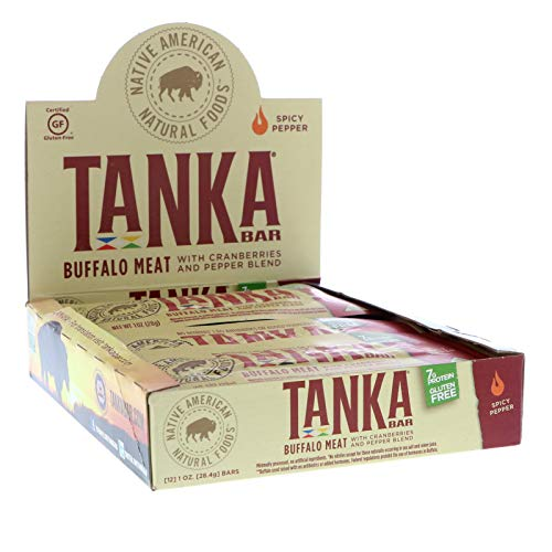 (Bison Pemmican Meat Bars with Buffalo & Cranberries by Tanka, Gluten Free, Beef Jerky Alternative, Spicy Pepper, 1 Oz, Pack of 12 )
