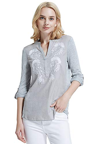 (Women's Blouse Tunic Shirt with Embroidery Henley V-Neck and 3/4 Roll-up Sleeve)