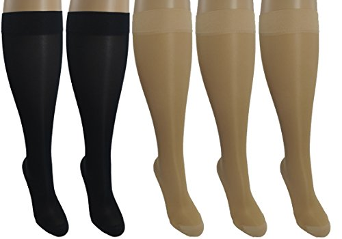 5 Sheer Pair Large/X-Large Ladies Compression Socks, Moderate/Medium Graduated Compression 15-20 mmHg. Nurses, Work, Therapy, Travel & Flight Knee-High Hosiery. Assorted Colors: 3 Nude, 2 Black