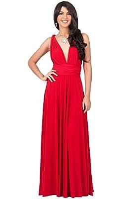 KOH KOH Womens Long Bridesmaid One Shoulder Convertible Wrap Cocktail Maxi Dress