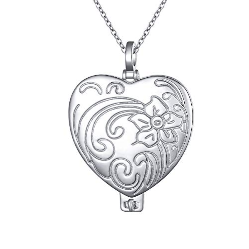 (S925 Sterling Silver Heart Locket Pendant Necklace for Women Girl Keepsake Hold Photos Jewelry)