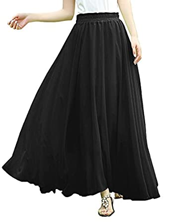 Amazon.com: V28 Women Full/ankle Length Elastic Pleated Retro Maxi ...
