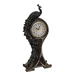 Resin Mantel Clocks Art Nouveau Style Bronzed Finish Peacock Mantel Clock 6.25 X 14.15 X 3 Inches Bronze