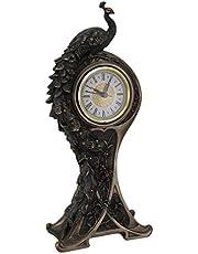 Art Nouveau Style Bronzed Finish Peacock Mantel Clock