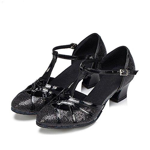 Tango Monie Frauen Synthetische Ballroom Ferse Schwarz Aufflackern Glitter Tanzschuhe Salsa Moderne wr1YqrCnx
